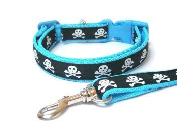 Skull & Crossbones Collar & Lead set - Light Blue