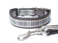Beige Berry Tartan Collar & Lead set - Brown