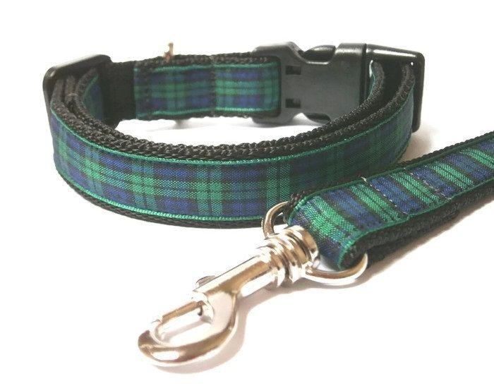 Blackwatch Tartan Collar & Lead set - Black