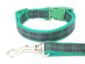 Blackwatch Tartan Collar & Lead set - Green