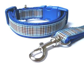 Blueberry Tartan Collar & Lead set - Dark Blue