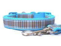 Blueberry Tartan Collar & Lead set - Light Blue