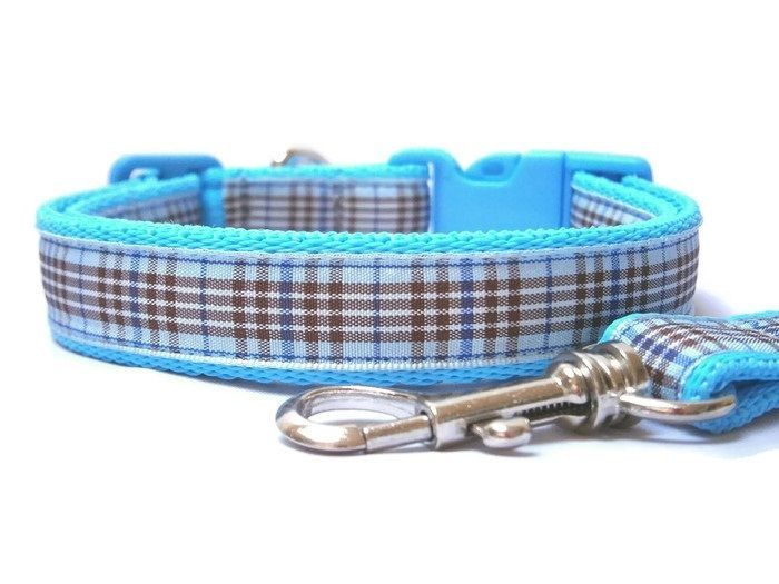 Blueberry Tartan Collar & Lead set - Light Blue