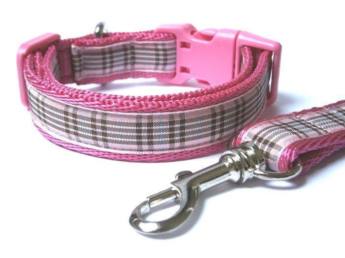 Raspberry Tartan Collar & Lead set - Dark Pink