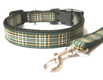 Irish National Tartan Collar & Lead set - Black