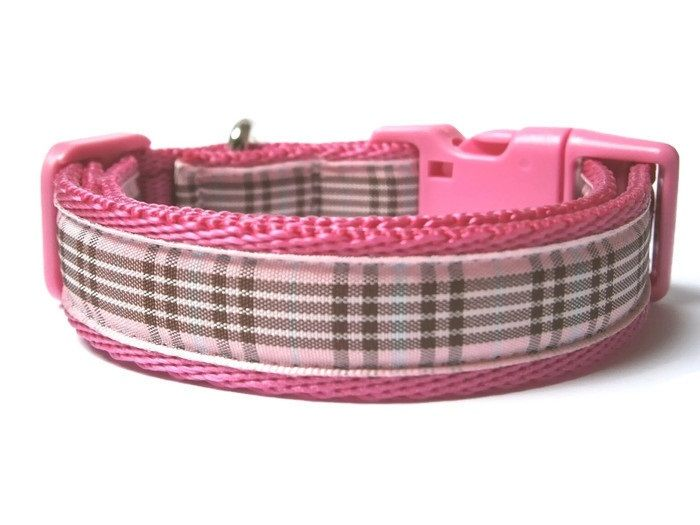 Raspberry Tartan Collar - Dark Pink