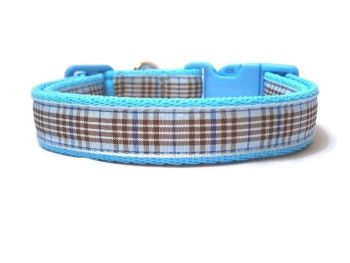 Blueberry Tartan Collar - Light Blue