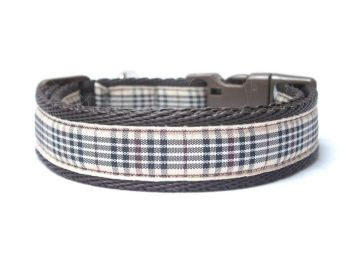 Beige Berry Tartan Collar - Brown
