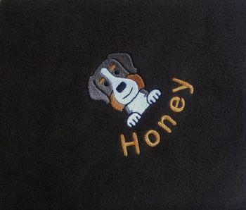 BERNESE MOUNTAIN DOG Embroidered Fleece Blanket