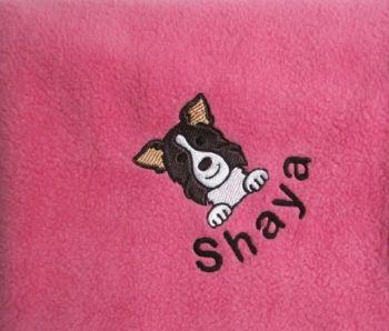 BORDER COLLIE Embroidered Fleece Blanket