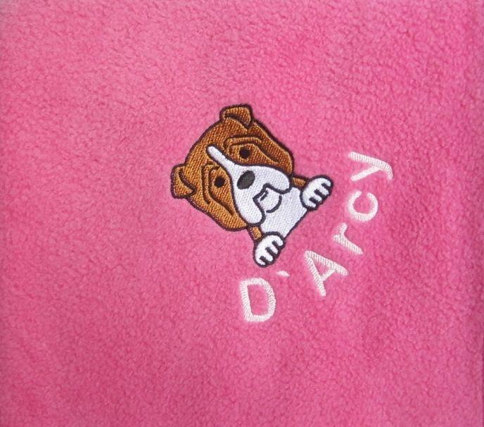 BULLDOG Embroidered Fleece Blanket