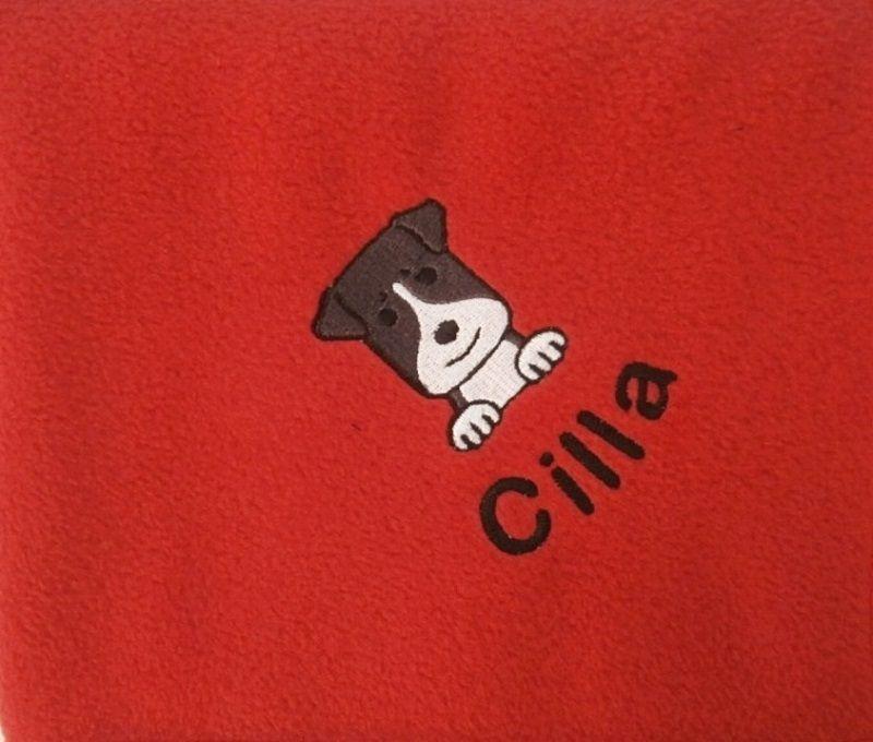 STAFFORDSHIRE BULL TERRIER Embroidered Fleece Blanket