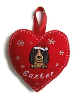Large Heart Christmas Decoration - Dog Breed