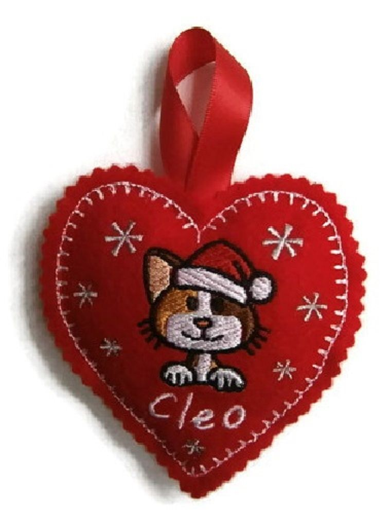 Large Christmas Heart Decoration - CAT