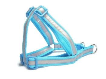 Reflective Step-In Dog Harness - Light Blue