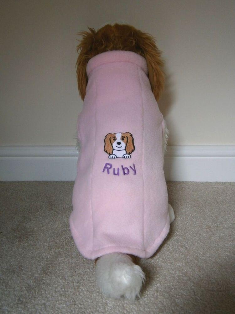Fleece Dog Coat - with Dog Breed Face & Name