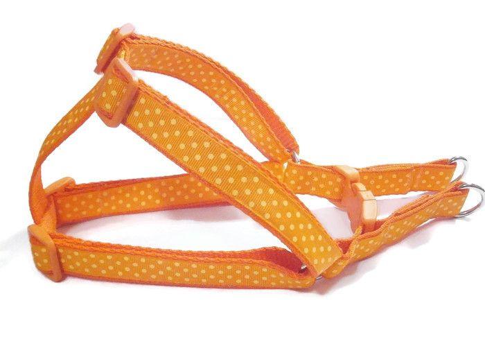 Orange Polka Dot - Step-In Dog Harness