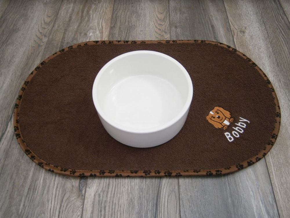 Dog Bowl Embroidered Feeding Mat