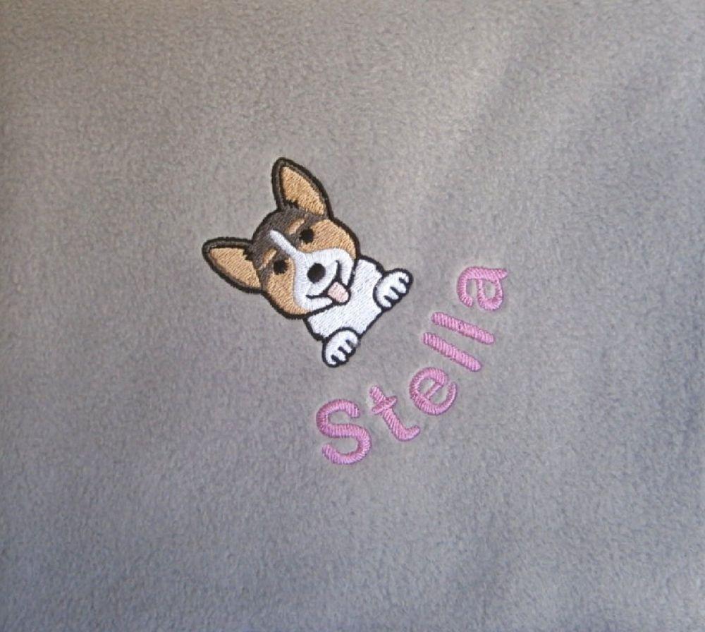 CORGI Embroidered Fleece Blanket