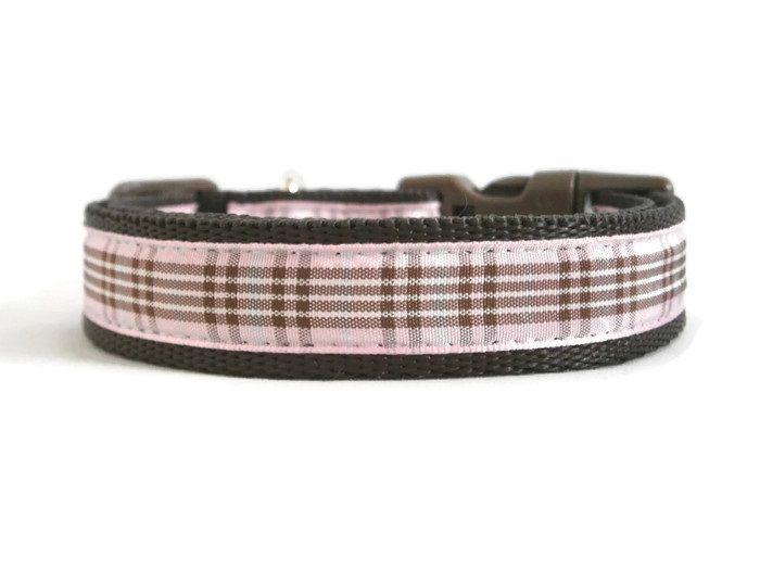 Raspberry Tartan Collar - Brown