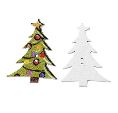 10 x 3cm Christmas Tree Buttons  (B19)
