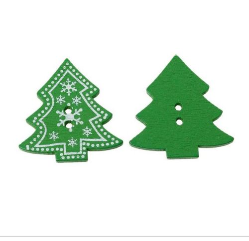 10 x 3.2cm Christmas Tree Buttons  (B33)