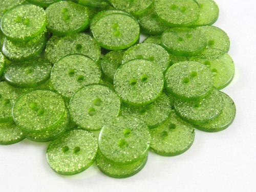 Green Glitter Buttons