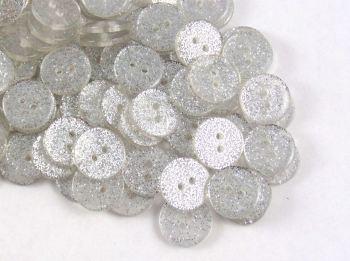 Silver Glitter Buttons