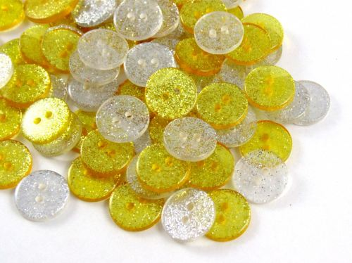 Silver & Gold Mix Glitter Buttons