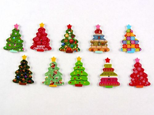 35mm Christmas Tree Buttons