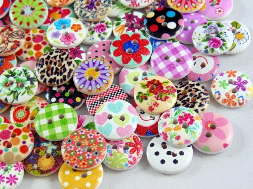 15mm Round Wooden Mixed Buttons