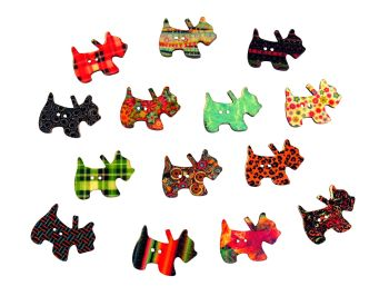 27mm Wooden Patterned Dog Buttons