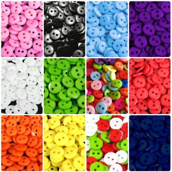 11mm Buttons - Mixed Colours, Christmas + 11 Colours