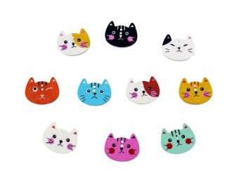 20mm Wooden  Cat Face Buttons