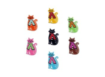 31mm Wooden Cat with Scarf Buttons