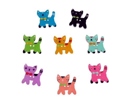 25mm Wooden Cat with Bow Buttons