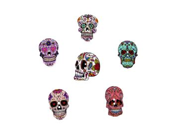 25mm Wooden Skull Buttons (Halloween, Mexican Day of the Dead Style)