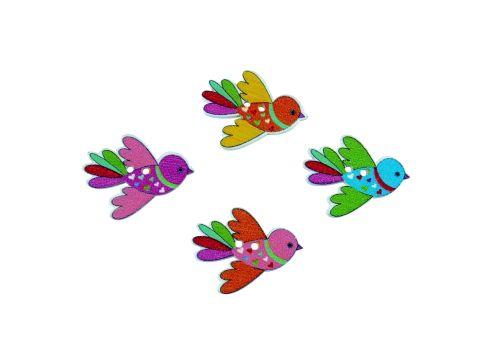 36mm Wooden Flying Bird Buttons