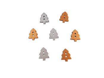 14mm Wooden Silver or Gold Small Christmas Tree Buttons