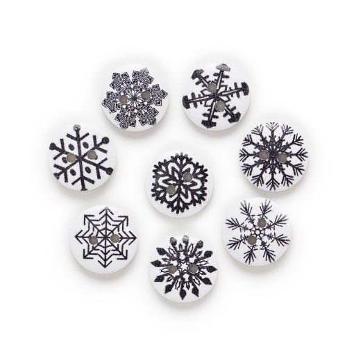 15mm Round Wooden Black & White Snowflake Buttons