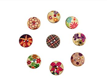 20mm Round Print Coconut Buttons