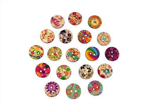 20mm Round Retro Print Buttons