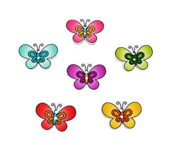 30mm Wooden Rounded Butterfly Buttons