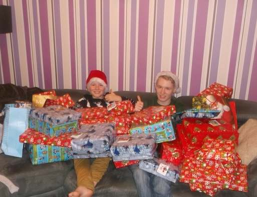 Boys with toy donations