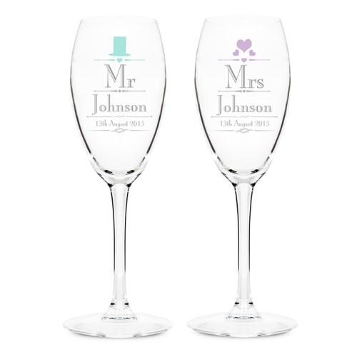 Decorative Wedding Mr & Mrs Flutes