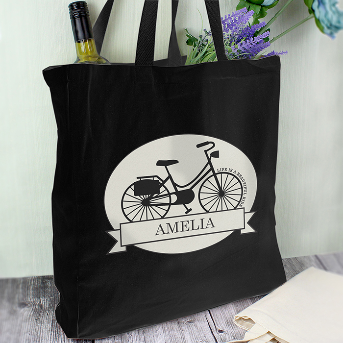 Vintage Bike Black Cotton Bag