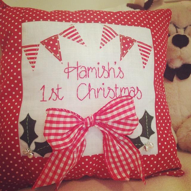Personalised Large 1st Christmas Cushion