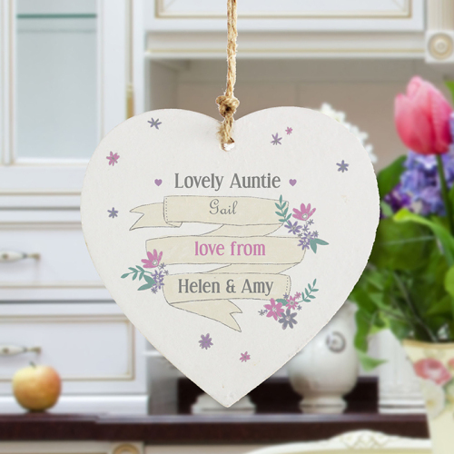 Garden Bloom Wooden Heart Decoration