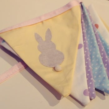 EASTER Bunting with Applique Bunnies