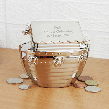 Silver Noahs Ark Money Box